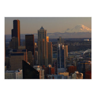 Aerial view of Seattle city skyline 2 Posters