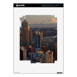 Aerial view of Seattle city skyline 2 Decals For iPad 3