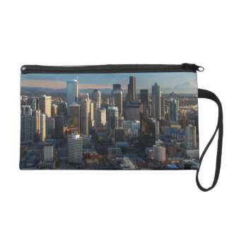 Aerial view of Seattle city skyline Wristlet Purse
