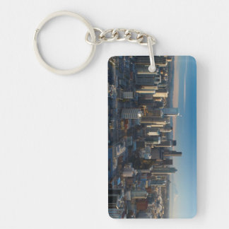 Aerial view of Seattle city skyline Keychain
