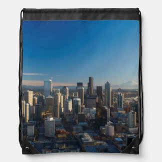 Aerial view of Seattle city skyline Drawstring Bag