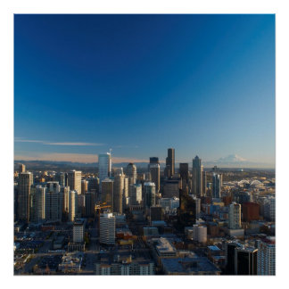 Aerial view of Seattle city skyline Print