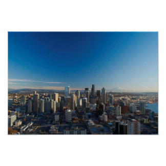 Aerial view of Seattle city skyline Posters