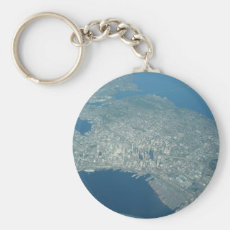 Aerial view of Seattle Basic Round Button Keychain