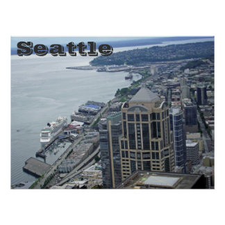 Aerial view of seattle posters