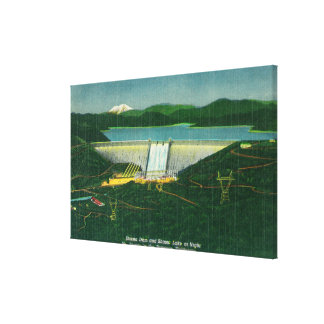 Aerial View of Shasta Dam, Lake, Mountain at Stretched Canvas Print