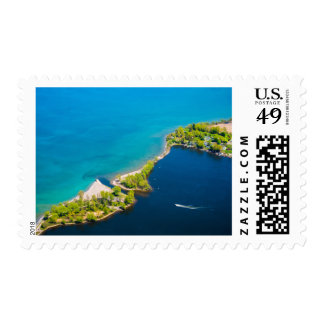 Aerial view of Sodus Bay and Lake Ontario Postage