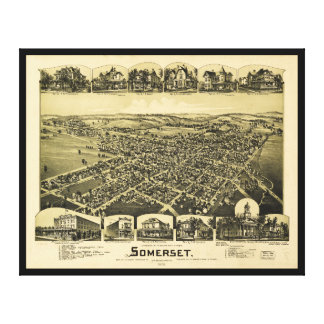 Aerial View of Somerset, Pennsylvania (1900) Canvas Print