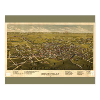 Aerial View of Somerville, New Jersey (1882) Postcard