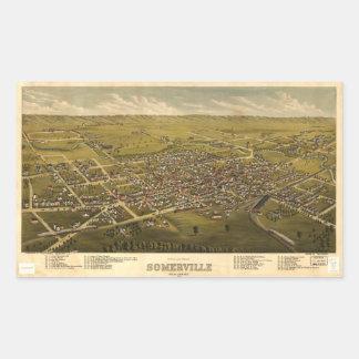 Aerial View of Somerville, New Jersey (1882) Rectangular Sticker