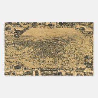 Aerial View of Stockton, California (1895) Rectangular Sticker