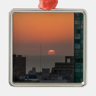 Aerial View of Sunset at the River in Montevideo U Metal Ornament