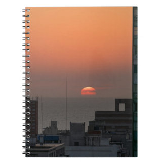 Aerial View of Sunset at the River in Montevideo U Notebook