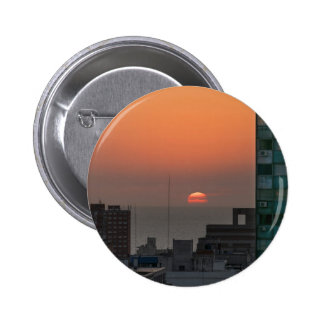Aerial View of Sunset at the River in Montevideo U Pinback Button