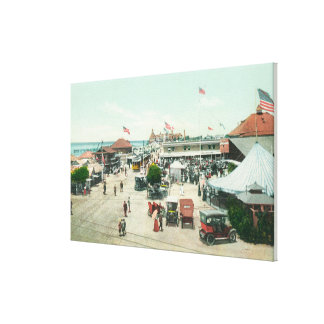 Aerial View of Tent City and Amusement Plaza Canvas Print