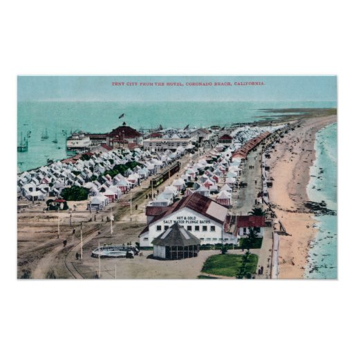 Aerial View of Tent City from Hotel del Coronado Print
