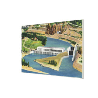Aerial View of the Bonneville Dam Power Plant Gallery Wrapped Canvas