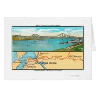 Aerial View of the Carquinez Bridge and Map Cards