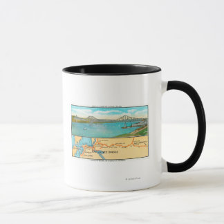 Aerial View of the Carquinez Bridge and Map Mug