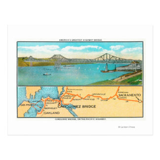 Aerial View of the Carquinez Bridge and Map Postcard