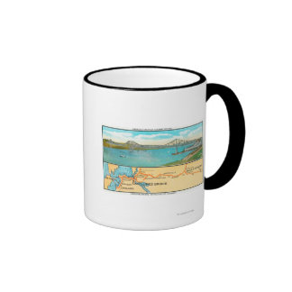 Aerial View of the Carquinez Bridge and Map Ringer Mug