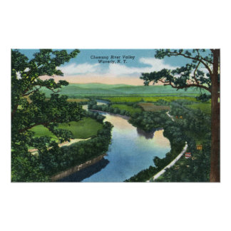 Aerial View of the Chemung River Valley Poster