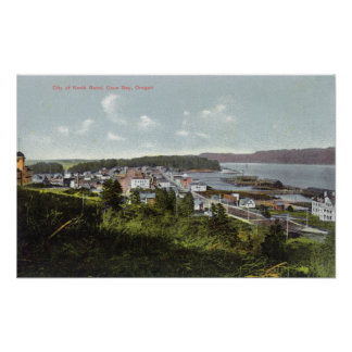 Aerial View of the City and Coos Bay Poster