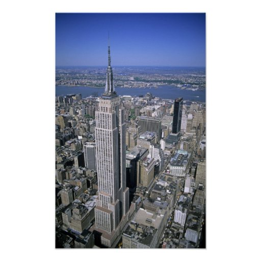 Aerial view of the Empire State Building and Poster
