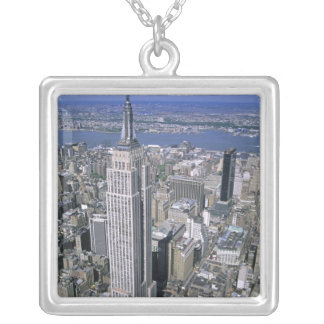 Aerial view of the Empire State Building and Silver Plated Necklace