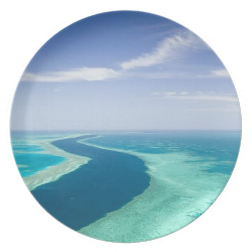 Aerial view of The Great Barrier Reef by the Dinner Plate