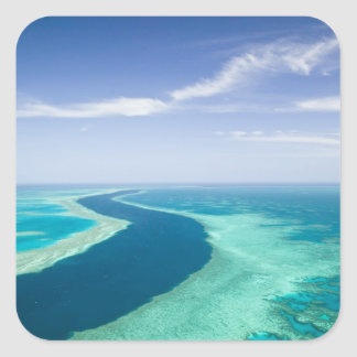Aerial view of The Great Barrier Reef by the Square Stickers