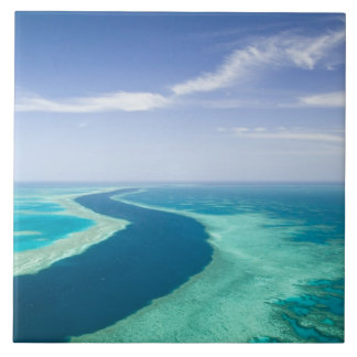 Aerial view of The Great Barrier Reef by the Tile