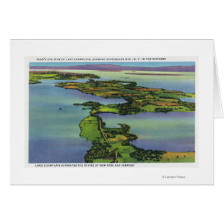 Aerial View of the Lake, NY and VT Split Card