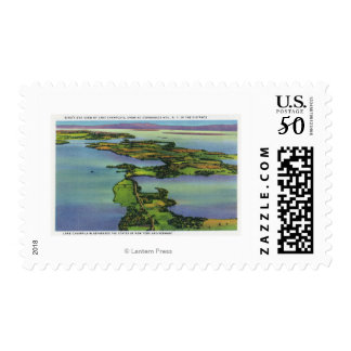 Aerial View of the Lake, NY and VT Split Postage