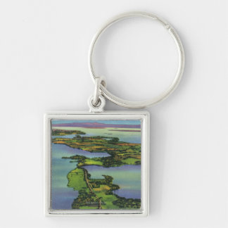 Aerial View of the Lake, NY and VT Split Silver-Colored Square Keychain