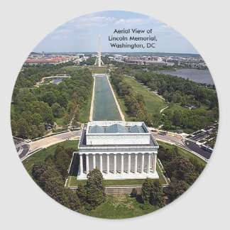 Aerial View of the Lincoln Memorial, Washington, D Classic Round Sticker