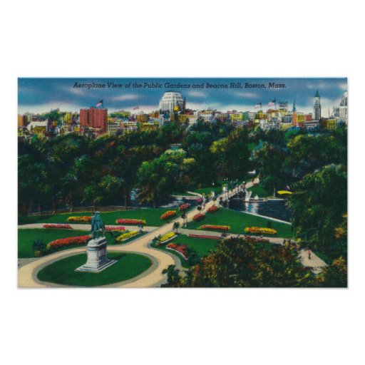 Aerial View of the Public Gardens, Beacon Hill Poster