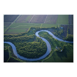 Aerial view of the Red River of the North Print