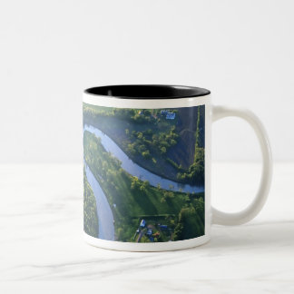 Aerial view of the Red River of the North Two-Tone Coffee Mug