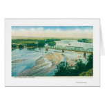 Aerial View of the River and Bridge Greeting Card