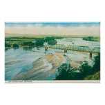 Aerial View of the River and Bridge Poster