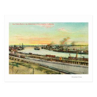 Aerial View of the San Pedro Harbor Postcard