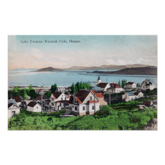 Aerial View of the Town and Lake Ewauna Poster
