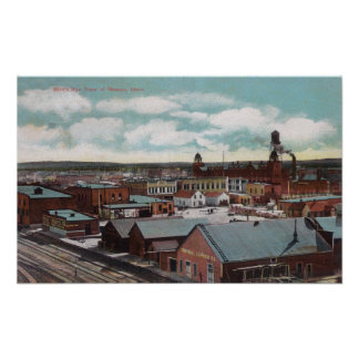 Aerial View of the Town, Train TracksNampa, ID Poster