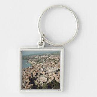 Aerial view of the town with keychain