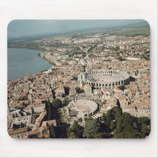 Aerial view of the town with mouse pad