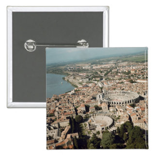 Aerial view of the town with pinback button