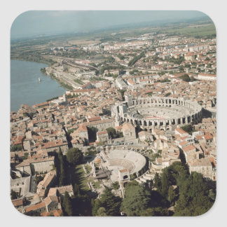 Aerial view of the town with square sticker