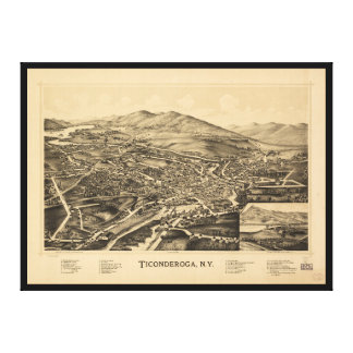 Aerial View of Ticonderoga, New York (1891) Canvas Print