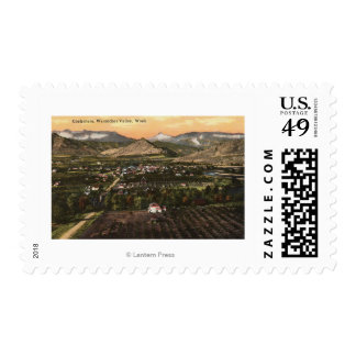 Aerial View of Town and Valley Postage Stamp